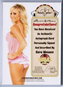 KARA MONACO 2012 BENCHWARMER VEGAS BABY #d 07/25 INSCRIPTIONS AUTO