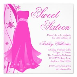 Dress Winter Wonderland Sweet 16 Custom Invitation