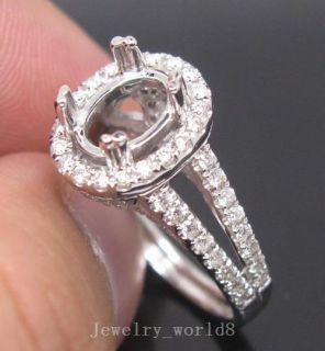 Solid 14kt White Gold Natural Full Cut Diamond Semi Mount Ring