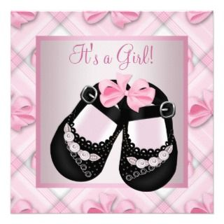 Pink Gray Baby Girl Shower Personalized Inviaions