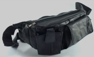 Just Leather Waist Bum Bag Black Leather Belt Travel Fanny Pack Money