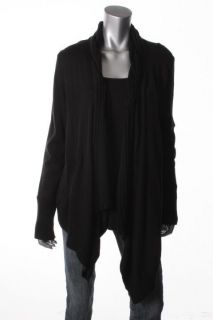 Karen Kane New Black Braided Collar Long Sleeves Cardigan Sweater L