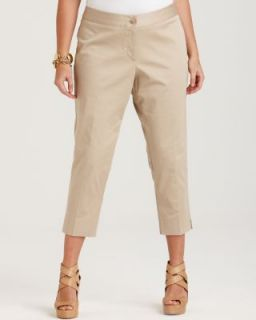 Karen Kane New Lifestyle Tan Side Slit Capri Pants Plus 14W BHFO
