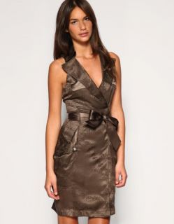 Karen Millen Taupe Belted Silk Jacquard Animal Print Shirt Dress 8 10
