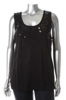 Karen Kane New Emerald Earth Black Sequined Sweater Tank Top Plus 3X