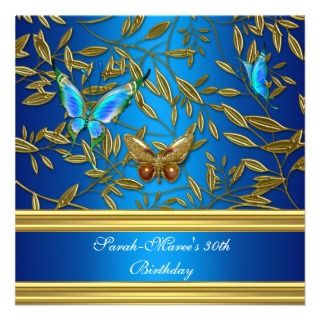 30th Birthday Party Elegant Gold Blue Butterfly Announcements