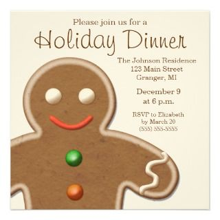 Cute Gingerbread Man Holiday Party Personalized Announcement