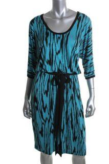 Karen Kane New Blue Printed Belted Dolman Sleeves Casual Dress Plus 0X