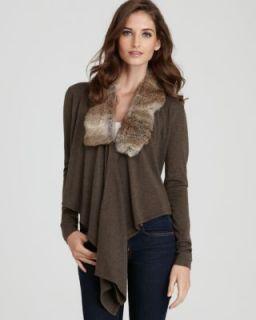 Karen Kane New Emerald Earth Brown Rabbit Fur Collar Cardigan Sweater