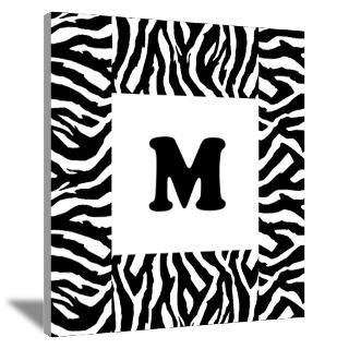 Zebra Print. Custom Letter. Wall Art Canvas Art