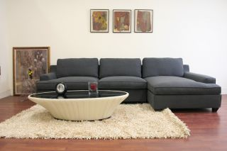 Kass Slate Gray Fabric Modern Sectional Sofa