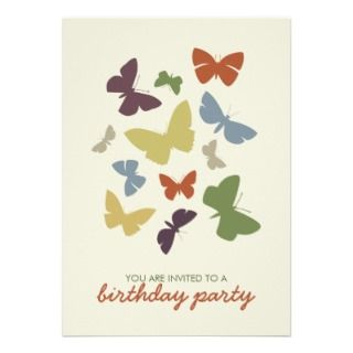 Colorful Butterflies Birthday Party A7 invitation