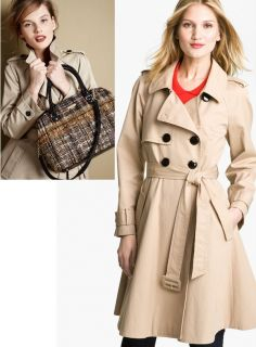 New $678 Kate Spade New York Dianne Flared Cotton Trench Coat