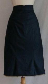 Womens Max Mara Navy Blue Silk Wool Pencil Skirt 4 Small S