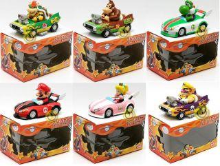 Mario Kart Pull Back Car Set Mario Yoshi Peach Wario Bowser Donkey