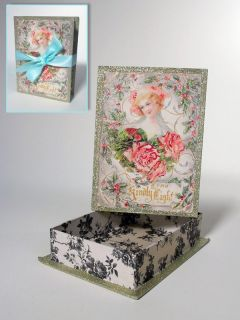 French Rose Victorian Era Candy Trinket Paper Box New