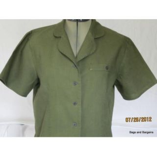 Kathie Lee Linen Cotton Green Fitted Camp Shirt Size 10 Short Sleeves