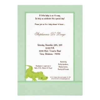5x7 Blue/Green Aligator Baby Shower Invitation