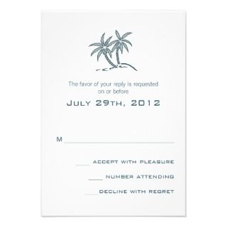 Twin Palm Trees Wedding RSVP card Invitation