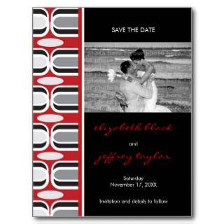 Retro Zig Zag Pattern Modern Save The Date Photo Post Card