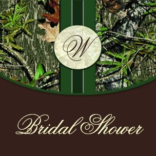 Brown Green Camo Wedding Bridal Shower Invitations invitation