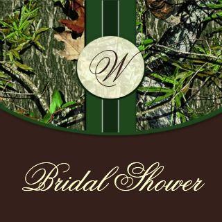 Brown Green Camo Wedding Bridal Shower Invitations invitation