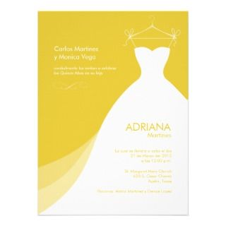 Quinceañera Vestido amarillo Invitaciones Personalized Announcements