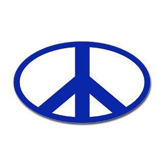 sticker peace sign blue on white oval bumper sticker $ 4 45 color