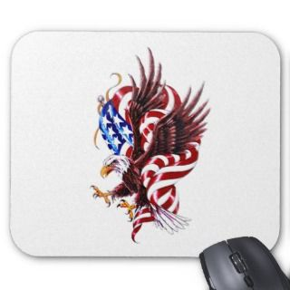 Eagle and American Flag Tattoo Illustration Style Mouse Pads