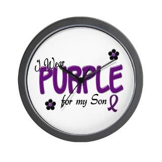 Wear Purple For My Son 14 Wall Clock for $18.00