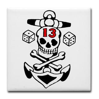 Gifts  Kitchen and Entertaining  Lucky 13 Skull Tile Coaster