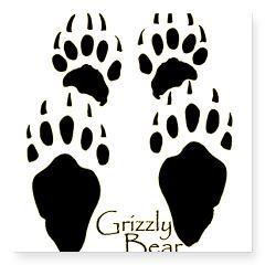 Grizzly Bear Tracks Design Rectangle Square Sticker 3 x 3