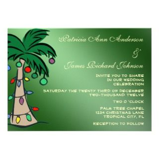 Tropical Christmas Green Palm Tree Wedding Invite