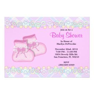 CUTE Sweet Plush Baby Booties Baby Shower Custom Invites