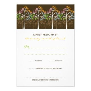 fatfatin Four Seasons Trees Wedding RSVP Card Personalized Invite