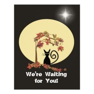 full moon and black cat halloween invitation to friends inviting