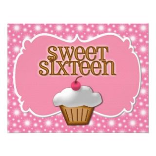 Cupcake Sweet Sixteen Party Personalized Invitations