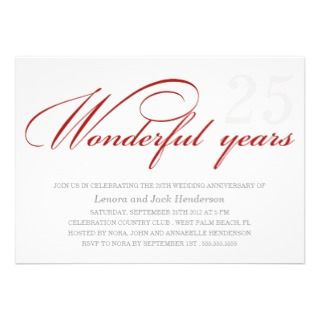 WONDERFUL YEARS  WEDDING ANNIVERSARY INVITIATION PERSONALIZED