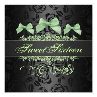 Sweet 16 Green & Black Bow Birthday Invitation
