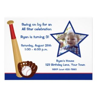 Baseball Theme Birthday Photo Invitation