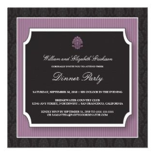 Elegant Damask Dinner Party Invitation (purple)