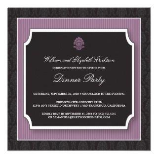Elegant Damask Dinner Party Invitation (purple)