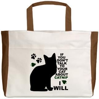 Black Cat Gifts  Black Cat Bags  TALK TO YOUR CAT/PAW PRINT Beach