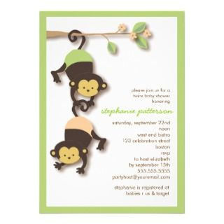 Modern Monkey Twins Neutral Baby Shower Invitation
