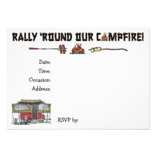 Cute RV Vintage Popup Camper Travel Trailer Personalized Invitation