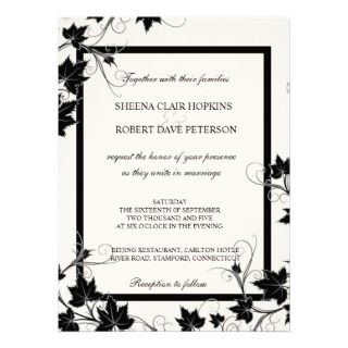 and White Swirls Leaves Modern Fall Wedding Personalized Invitation
