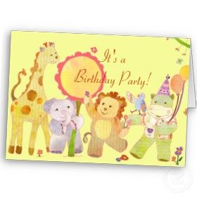Baby Animals Birthday Party Invitation for Kids by daphne1024