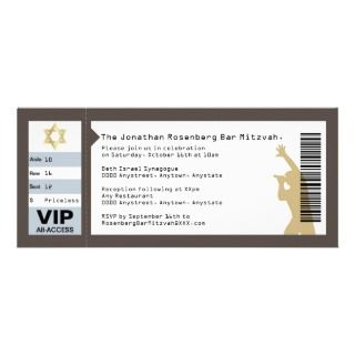 Concert Ticket Bar Mitzvah Invitation in Brown