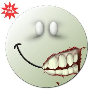 Zombie Smiley Face 3 Lapel Sticker (48 pk)