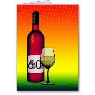 60th birthday or anniversary : wine bottle & glass photo cards
